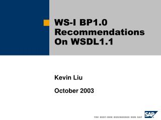 WS-I BP1.0 Recommendations On WSDL1.1