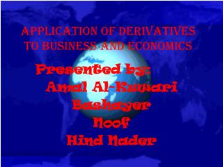 Application of derivatives to Business and economics