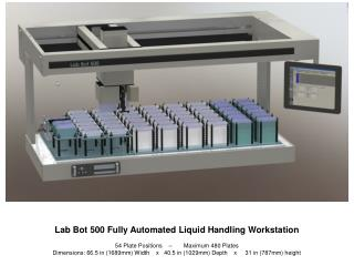 Lab Bot 500 Fully Automated Liquid Handling Workstation  54 Plate Positions            Maximum 480 Plates Dimensions: 66
