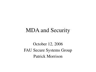 MDA and Security