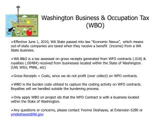 Washington Business & Occupation Tax  (WBO)