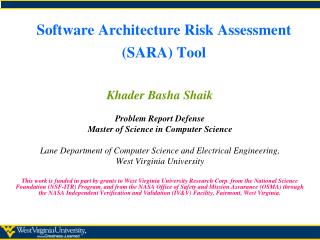 Software Architecture Risk Assessment (SARA) Tool
