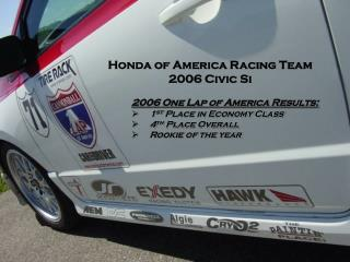2006 One Lap of America Results: 1 st  Place in Economy Class 4 th  Place Overall
