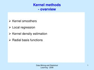 Kernel methods - overview