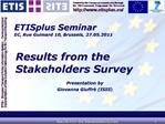 ETISplus Seminar EC, Rue Guimard 10, Brussels, 27.05.2011