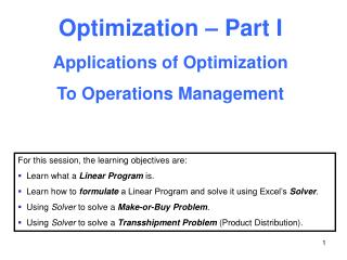 Optimization – Part I Applications of Optimization To Operations Management