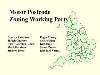 Motor Postcode  Zoning Working Party