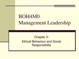 BOH4M0 Management Leadership