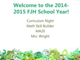 Welcome to the 2014-2015 FJH School Year!