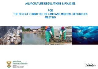 AQUACULTURE REGULATIONS & POLICIES FOR THE SELECT COMMITTEE ON LAND AND MINERAL RESOURCES MEETING
