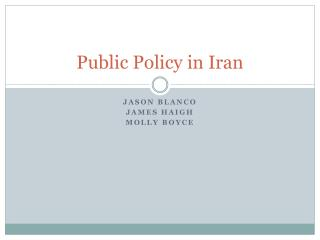 Public Policy in Iran