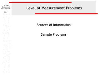 Level of Measurement Problems