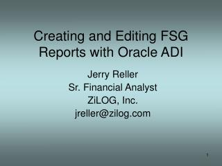 Creating and Editing FSG Reports with Oracle ADI