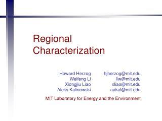 Regional Characterization