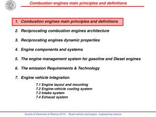 Combustion engines main principles  and  definitions Reciprocating combustion engines architecture