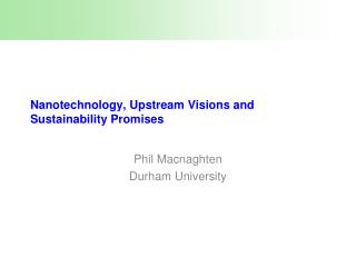 Nanotechnology, Upstream Visions and Sustainability Promises