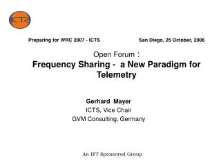 Gerhard  Mayer ICTS, Vice Chair GVM Consulting, Germany