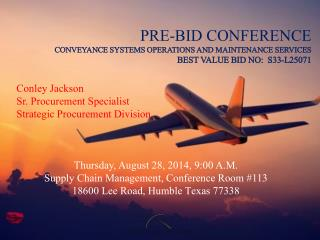 Conley Jackson  Sr. Procurement Specialist Strategic Procurement Division