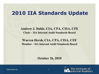 2010 IIA Standards Update