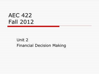 AEC 422 Fall 2012