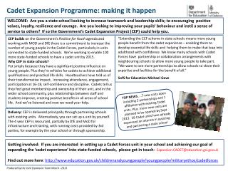 Cadet Expansion Programme: making it happen