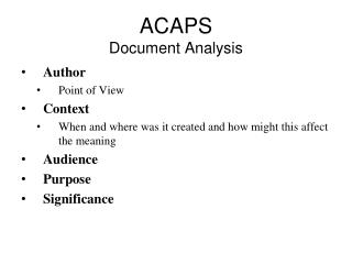 ACAPS Document Analysis
