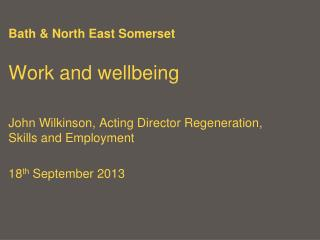 Bath & North East Somerset Work and wellbeing