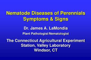 Nematode Diseases of Perennials Symptoms & Signs Dr. James A. LaMondia
