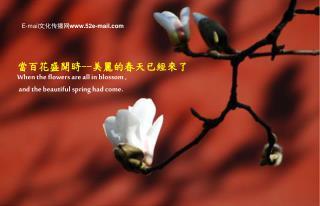 當百花盛開時 -- 美麗的春天已經來了 When the flowers are all in blossom ,   and the beautiful spring had come.