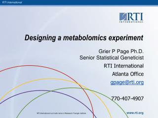 Designing a metabolomics experiment