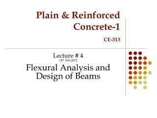 Plain & Reinforced Concrete-1 CE-313