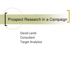 Prospect Research in a Campaign