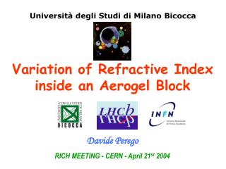 RICH MEETING - CERN - April 21 st  2004