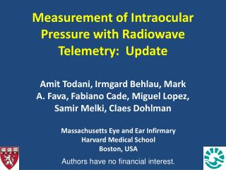 Measurement of Intraocular Pressure with Radiowave Telemetry:  Update