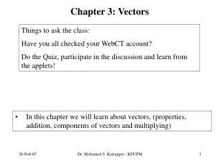 Chapter 3: Vectors