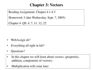 In this chapter we will learn about vectors, (properties, addition, components of vectors)