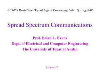 Spread Spectrum Communications