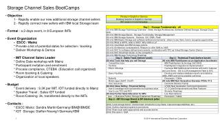 Storage Channel Sales  BootCamps