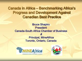 Canada in Africa – Benchmarking Africa's Progress and Development Against Canadian Best Practice
