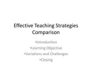 Effective Teaching Strategies Comparison