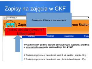 Zapisy na zajęcia w CKF