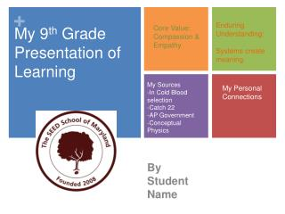 My 9th Grade Presentation of Learning