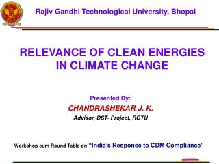 RELEVANCE OF CLEAN ENERGIES IN CLIMATE CHANGE