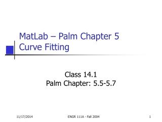 MatLab – Palm Chapter 5 Curve Fitting