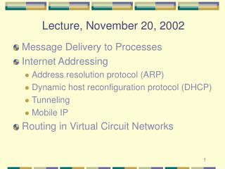 Lecture, November 20, 2002