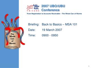 Briefing:	Back to Basics – MSA 101    Date:	19 March 2007 Time:	0900 - 0950