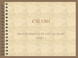 CSI 1301