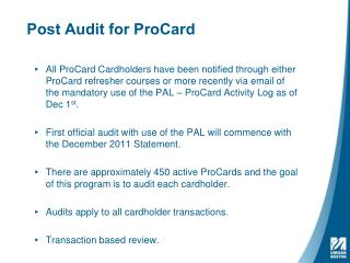 Post Audit for ProCard