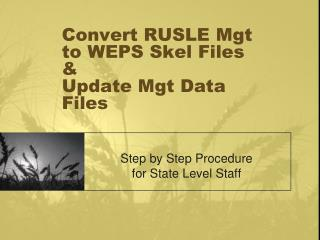 Convert RUSLE Mgt to WEPS Skel Files  &  Update Mgt Data Files