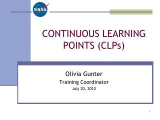 CONTINUOUS LEARNING  POINTS (CLPs)
